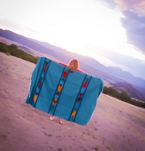 Turquoise Baja Fish Yoga Blanket 2 Teal fish blanket