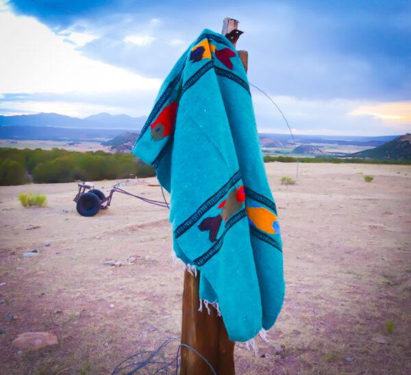 Turquoise Baja Fish Yoga Blanket 1 Teal fish hanging